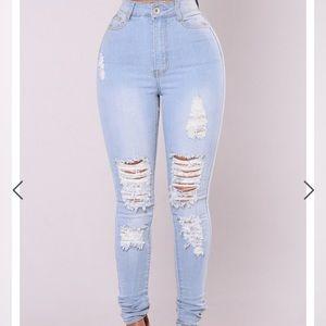 Fashion Nova light wash ripped skinny jeans